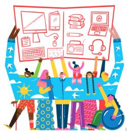 Affiche de la journée. Illustration de personnes qui tiennent un livre au-dessus de leur tête où l'on voit des illustrations d'outils numériques.