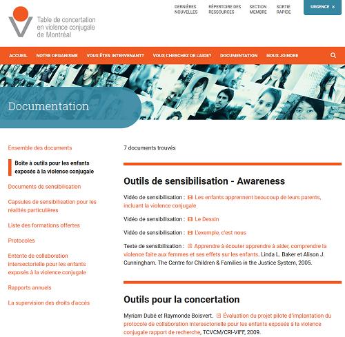 Page de la boîte à outils pour les enfants exposés à la violence conjugale sur le site de la Table de concertation en violence conjugale de Montréal