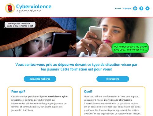 Page d'accueil du site Cyberviolence : agir et prévenir