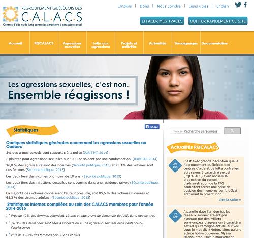 Page des statistiques sur le site du RQCALACS
