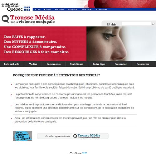 Site de l'Institut national de santé publique sur la page Trousse Média sur la violence conjugale.